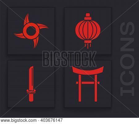 Set Japan Gate, Japanese Ninja Shuriken, Japanese Paper Lantern And Japanese Katana Icon. Vector