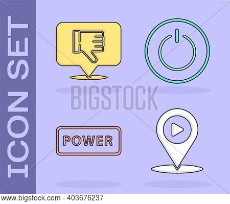 Set Digital Media Play With Location, Dislike In Speech Bubble, Power Button And Power Button Icon.