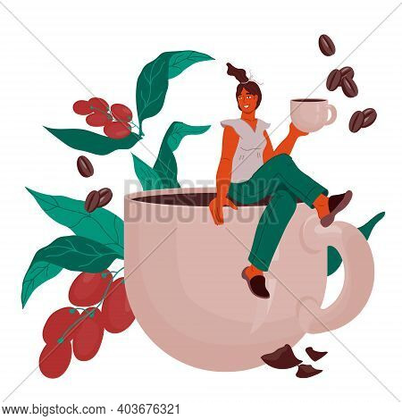 Decorative Element For Coffeehouse Or Coffee Packaging. Tiny Woman Sitting On Edge Of Huge Coffee Cu