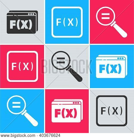 Set Function Mathematical Symbol, Function Mathematical Symbol And Calculation Icon. Vector