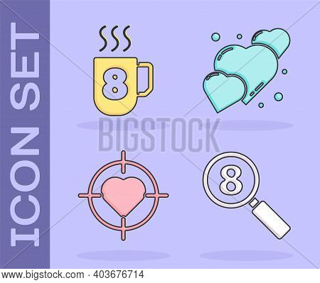 Set Search 8 March, Coffee Cup With 8 March, Heart In The Center Of Target Aim And Heart Icon. Vecto