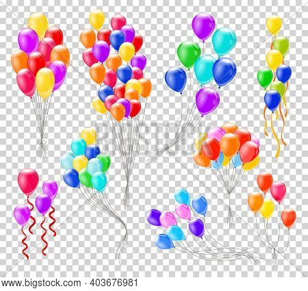 Helium Balloons. Bunches Or Groups Of Colorful Helium Balloons Isolated On Transparent Background. C