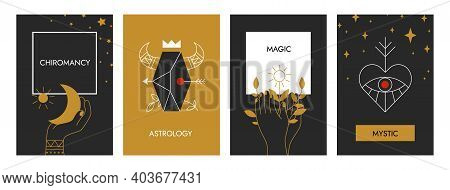 Boho Posters. Astrology Magical Banners. Decorative Occult Contour Symbols With Floral And Cosmic El