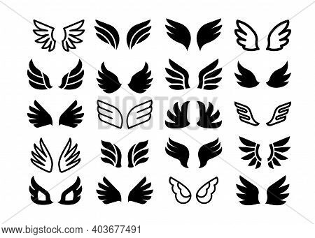 Wing Pair Icons. Simple Angel Or Birds Black Silhouette And Line Symbols, Eagle Hawk And Phoenix Fea
