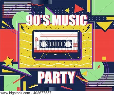 Cassette Retro Poster. 90s Music. Abstract Pop Art Banner. Colorful Background With Flat Geometric S
