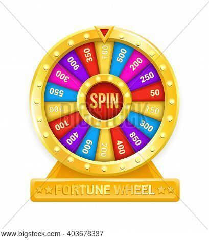 Fortune Wheel. Cartoon Rotating Circle With Colored Sectors And Arrow Element. Lottery And Random Ra