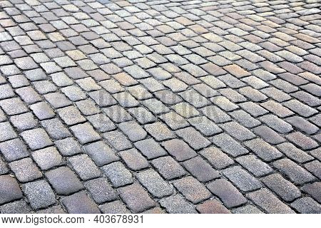 Stony Gray Paving Granite Road ( Texture, Background )