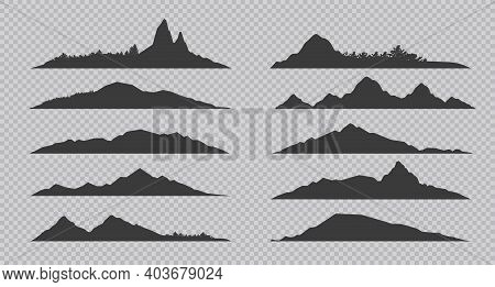 Mountain Silhouette. Black Outline Rocks And Hills With Forests. Collection Of Contour Landscapes On