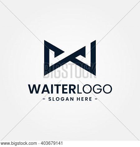 Abstract Bow Tie Logo Design Template. Minimal Letter W For Waiter Logo. Creative Tuxedo Icon Vector