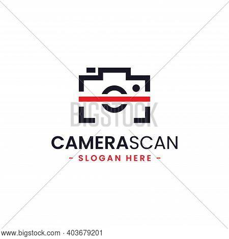 Camera Scan Logo Design Template. Minimal Camera And Scan Icon Vector Combination. Creative Scan Sym