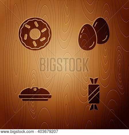 Set Candy, Donut, Homemade Pie And Easter Eggs On Wooden Background. Vector