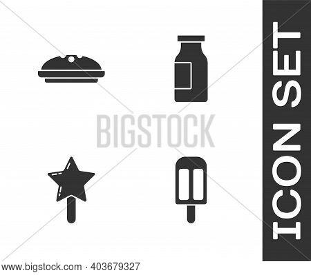 Set Ice Cream, Homemade Pie, Lollipop And Bottle With Milk Icon. Vector