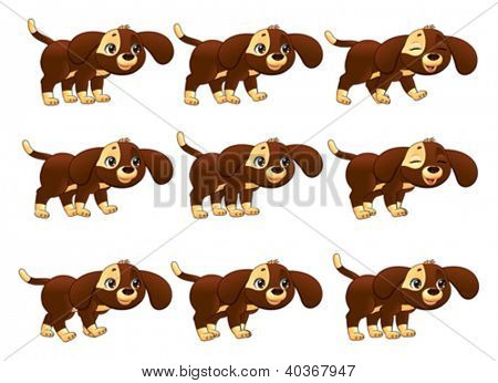 Dog walking animation. Cartoon vector isolated objects. Separate layers: Head, Ears, Body1, Body2, Tail, Front Leg x 2, Rear Leg x 2, Paws x 4