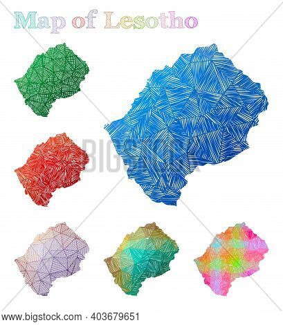 Hand-drawn Map Of Lesotho. Colorful Country Shape. Sketchy Lesotho Maps Collection. Vector Illustrat