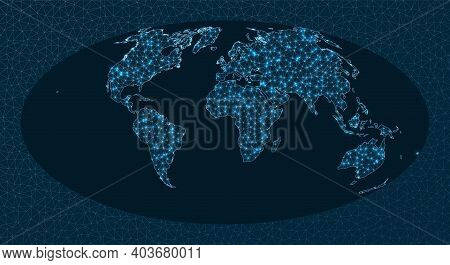 Communications Map Of The World. Aitoff Projection. World Network. Artistic Connections Map. Vector