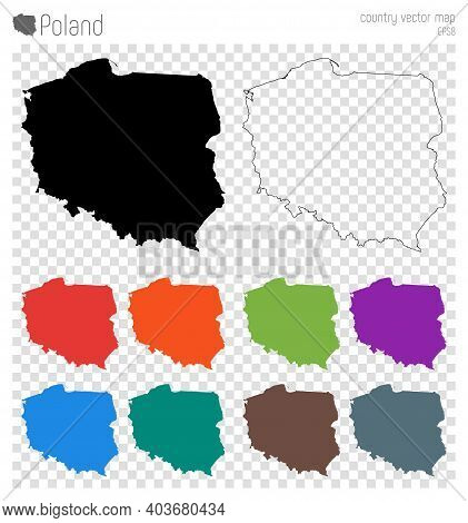 Poland High Detailed Map. Isolated Black Country Outline. Vector Illustration.
