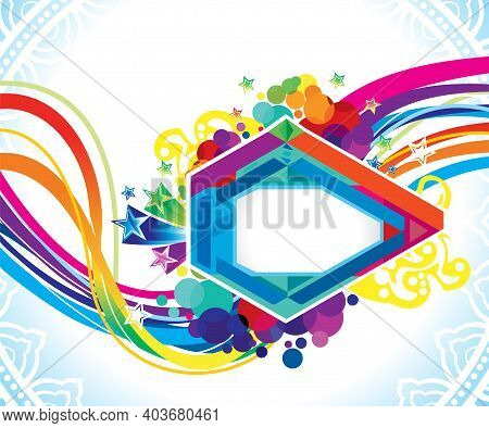 Abstract Artistic Creative Rainbow Wave Explode Vector Illustration