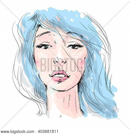 Beautiful Girl Face With Long Blue Hair. Watercolor Illustration In Vector.design For Invitation, We