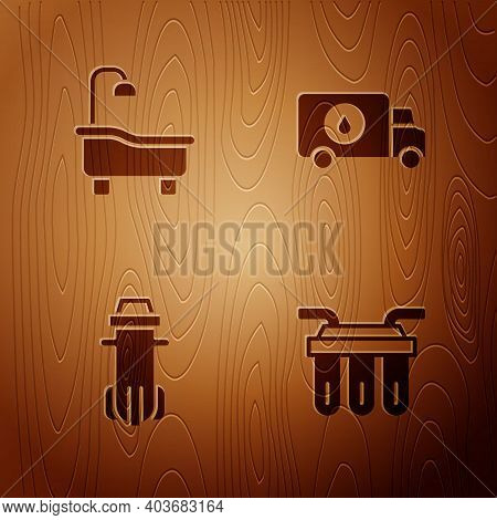 Set Water Filter, Bathtub, And Plumber Service Car On Wooden Background. Vector