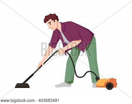 Guy Vacuums Flat With Vacuum Cleaner Isolated Flat Cartoon Character. Vector Male Doing Housework Ch