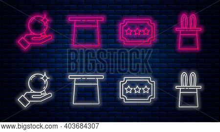Set Line Magician Hat, Ticket, Magic Ball On Hand And Magician Hat And Rabbit Ears. Glowing Neon Ico