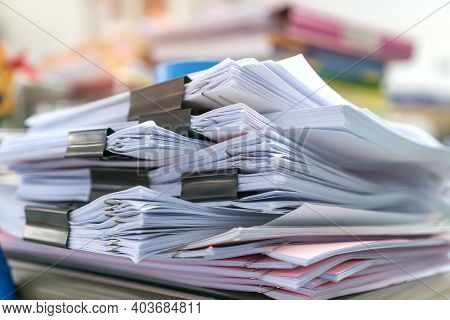 Office Organize Document Paperwork Of Pile Chaos Tower Papers, A Lot Of Work Papermess Financial On