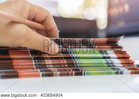 Pile Of Presentation Brochure Document Concept : Businessman Hands Working In Business Documents On