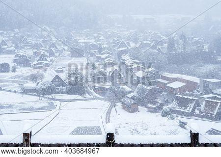Shirakawa-go Villages On Snowfall, Gifu Prefecture, Japan. Gassho-zukuri Houses Village From Hill Vi
