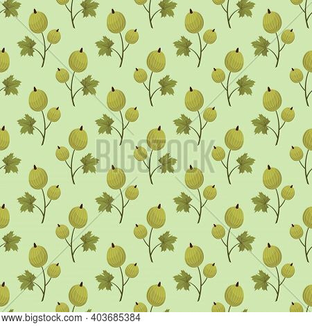 Vector Seamless Pattern With Green Gooseberry; For Wrapping Paper, Packaging, Etc.