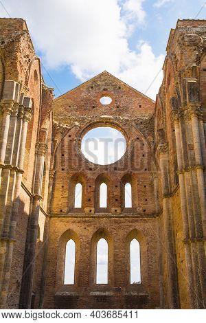 Chiusdino, Italy - 7th September 2020. The Large Circular Window And Smaller Arch Or Radius Windows