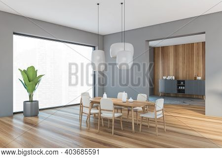 Grey And Wooden Living Room With Beige Chairs And Wooden Table On Parquet Floor, Side View. Shelf On