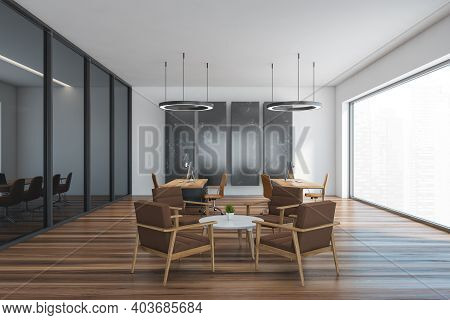 Wooden And Black Office Room With Armchairs And Coffee Table, Office Furniture With Computers. Minim
