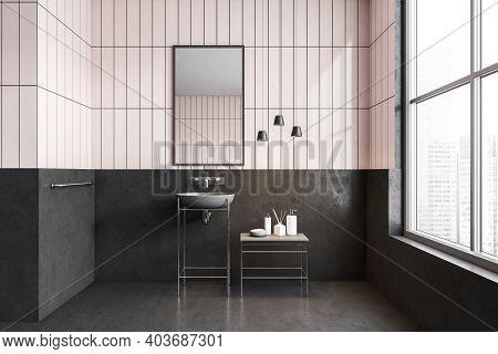 White And Black Bathroom With Sink, Mirror And Bottles On Table Near Window. Minimalist Modern Bathr