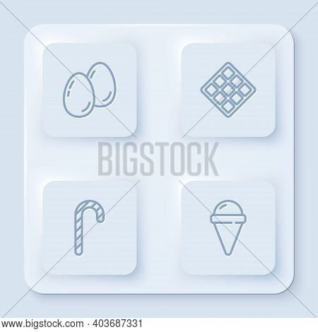 Set Line Easter Eggs, Waffle, Christmas Candy Cane And Ice Cream In Waffle Cone. White Square Button