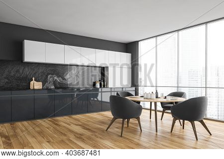 Black And White Kitchen With Four Chairs And Dining Table, Side View, Window And Parquet Floor. Mode