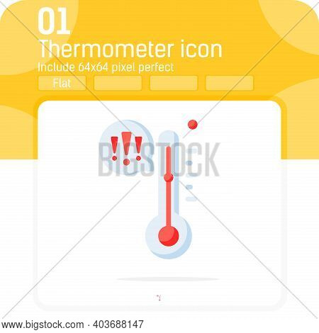 Thermometer With Exclamation Icon With Flat Style Isolated On White Background. Cartoon Vector Illus