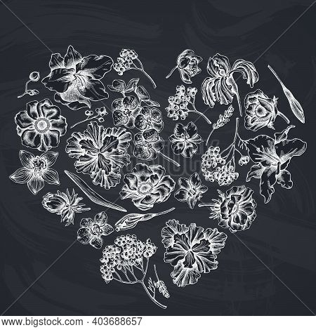 Heart Floral Design With Chalk Anemone, Lavender, Rosemary Everlasting, Phalaenopsis, Lily, Iris Sto