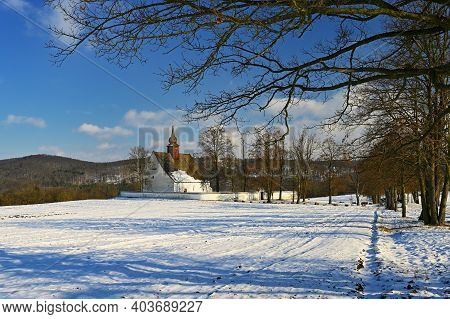 Winter Landscape. Beautiful Chapel Near Castle Veveri. Czech Republic City Of Brno. The Chapel Of Th