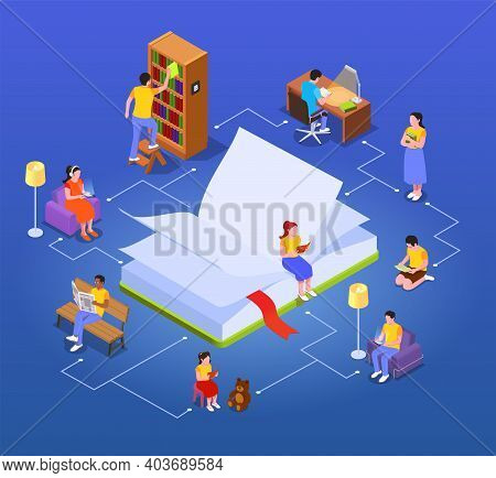 Reading Isometric Composition With Open Book Image And Small Human Characters Reading Books In Vario