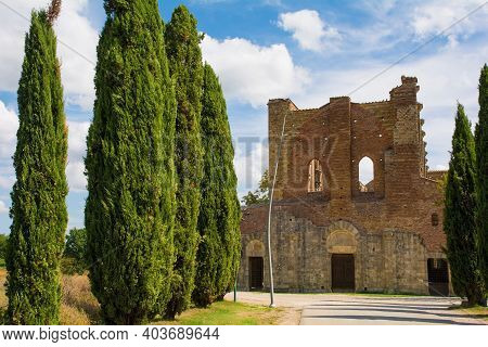 Chiusdino, Italy - 7th September 2020. The Remains Of The Roofless San Galgano Abbey In Siena Provin