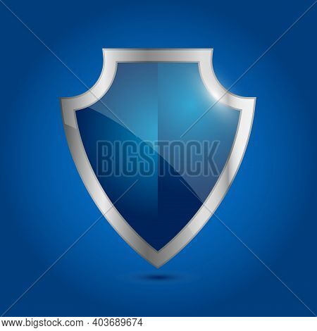 Vector Blue Shield. Security And Warranty Icon. Armor Empty Plate. A Shield With Shiny Silver Border