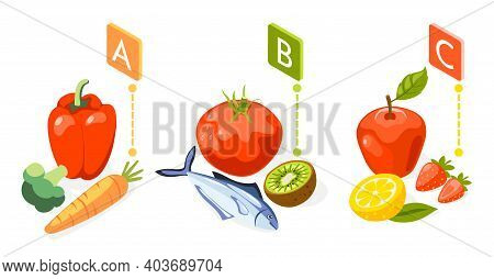 Strengthening Immunity Isometric Colored Background With Vitamins Found In Certain Fruits And Vegeta