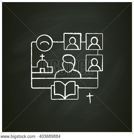 Online Religious Service Chalk Icon. Meeting Together Concept. Internet Streaming Website. Live, Soc