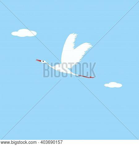 Flying Crane - Vector. Spring Mood. Bird Life.