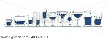Glassware Vodka Whiskey Rum Tequila Liquor Red Wine Vermouth Martini Champagne Beer Mineral Water Li