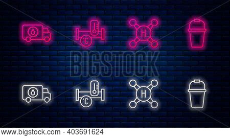 Set Line Industry Metallic Pipe, Water Tap, Plumber Service Car And Bucket. Glowing Neon Icon On Bri