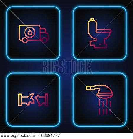 Set Line Shower, Broken Pipe, Plumber Service Car And Toilet Bowl. Gradient Color Icons. Vector