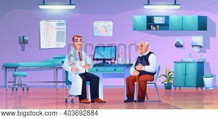 Man On Consultation With Geriatric Medicine Specialist. Vector Doctors Cabinet Office Interior, Seni
