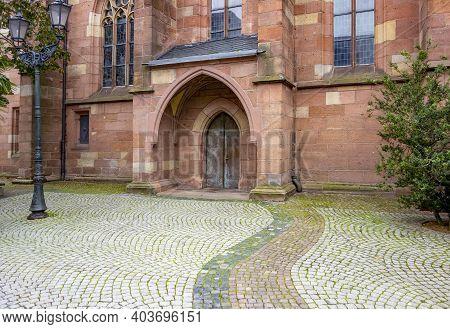 City Church Entrance Seen In Neustadt An Der Weinstraße, A Town In The Rhineland-palatinate In Germa