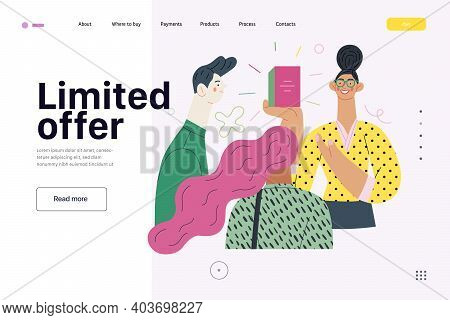 Discounts, Sale, Promotion - Web Template - Shop Consultant - Modern Flat Vector Concept Illustratio